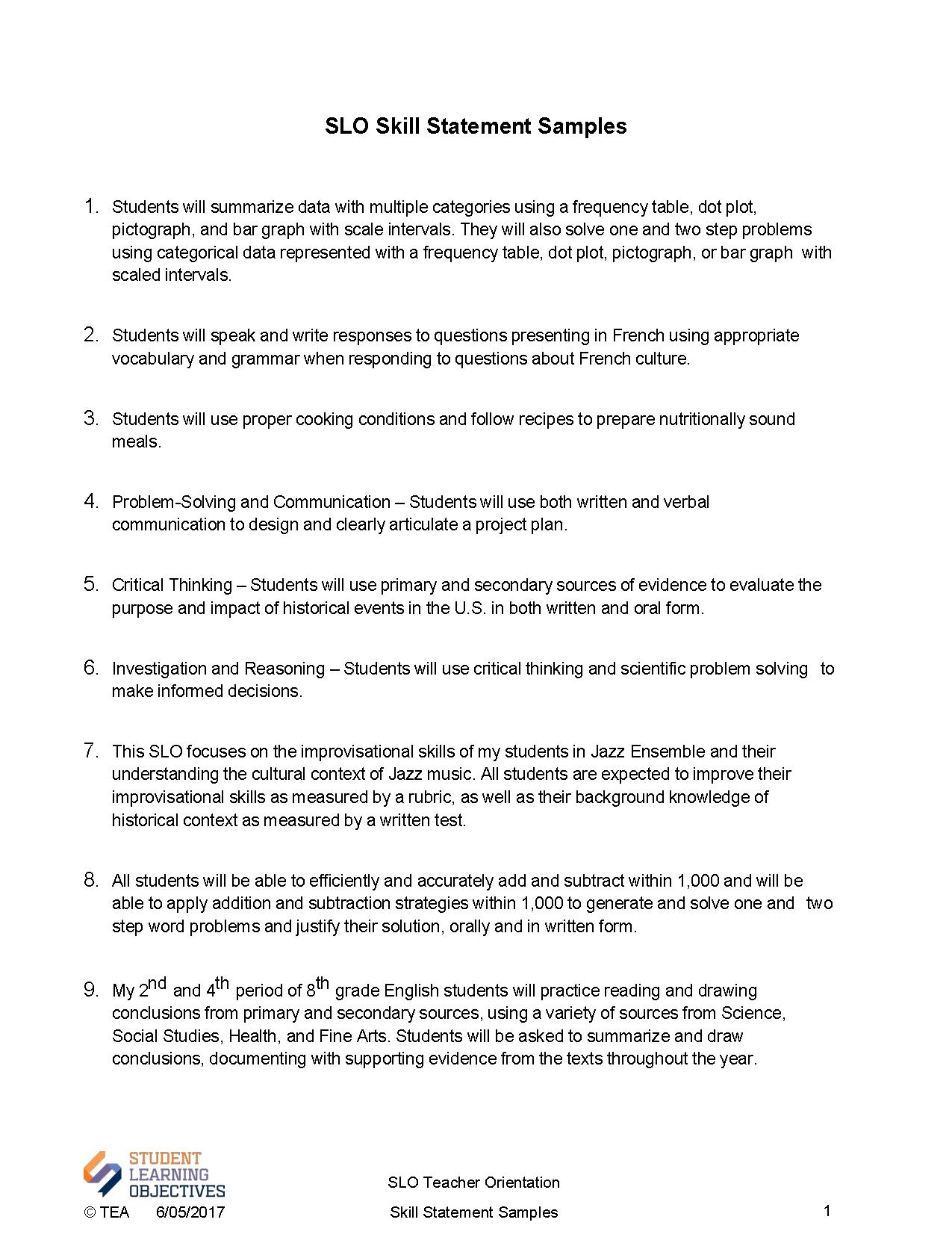 Orientation SLO – Orientation Evaluation Form